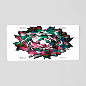 Pink Blue Flower Aluminum License Plate