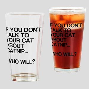 Funny, Catnip, Drinking Glass
