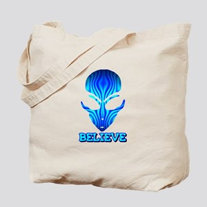 Blue Stripe Believe Alien Tote Bag
