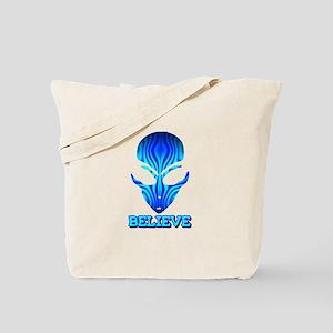 Blue Stripe Believe Alien Tote Bag