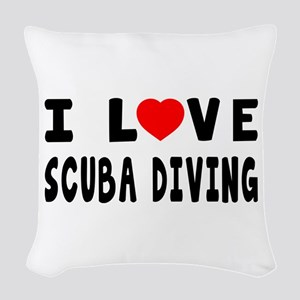 I Love Scuba Diving Woven Throw Pillow