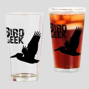 Bird Geek (Pelican) Birding T-Shirt Drinking Glass