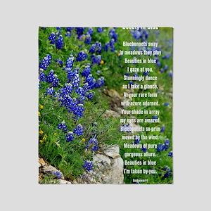 Bluebonnet poem Throw Blanket