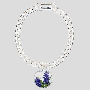 Texas bluebonnet Charm Bracelet, One Charm