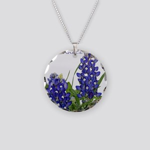 Texas bluebonnet Necklace Circle Charm