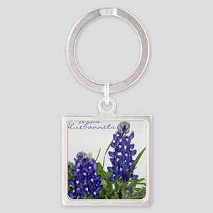 Texas bluebonnet Square Keychain
