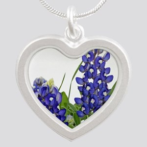 Texas bluebonnet Silver Heart Necklace