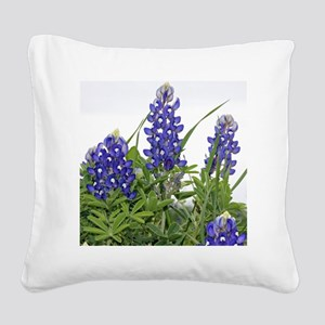 Plain Texas bluebonnets Square Canvas Pillow