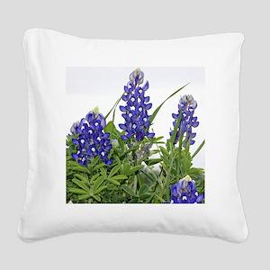 Plain Texas bluebonnets Square Canvas Pillow
