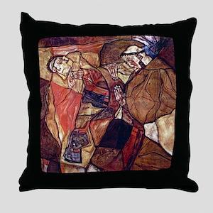Egon Schiele Agony The Death Struggle Throw Pillow