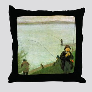 Macke Anglers on the Rhine Throw Pillow