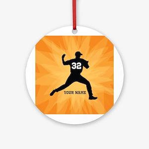 Personalized Baseball Pitcher Ornament (Round)