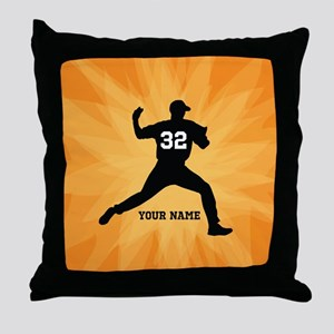 Personalized Baseball Pitcher Throw Pillow
