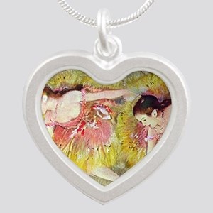 Edgar Degas Ballet Dancers Silver Heart Necklace