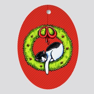 Christmas Kitty Wreath Ornament (Oval)