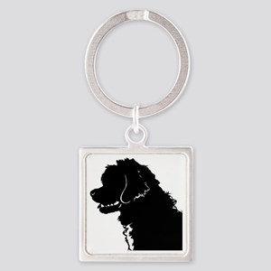 Portuguese Water Dog Head Square Keychain