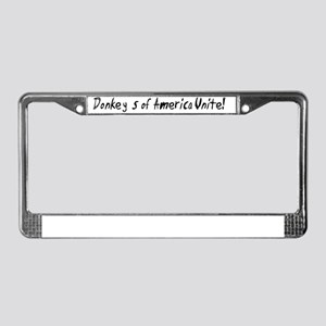 Donkeys Unite! License Plate Frame