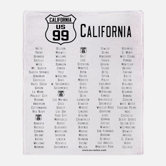 US Route 99 - California Cities Throw Blanket