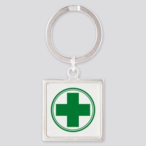 Simple Green Transparent Square Keychain