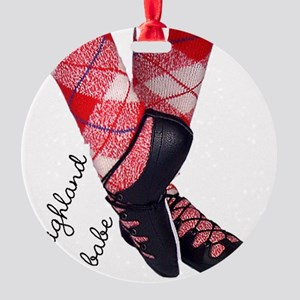 Highland babe tartan legs Round Ornament