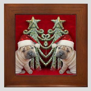 Christmas shar pei Framed Tile