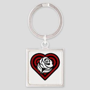 Flower Heart Square Keychain