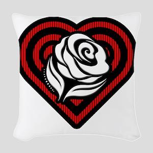 Flower Heart Woven Throw Pillow