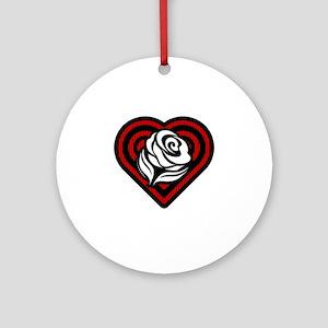 Flower Heart Round Ornament