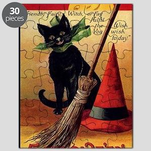 WitchsCatw/BroomHatGreetingCard-border Puzzle