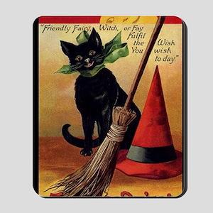 WitchsCatw/BroomHatGreetingCard-border Mousepad