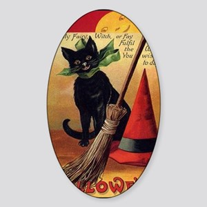 WitchsCatw/BroomHatGreetingCard-bor Sticker (Oval)