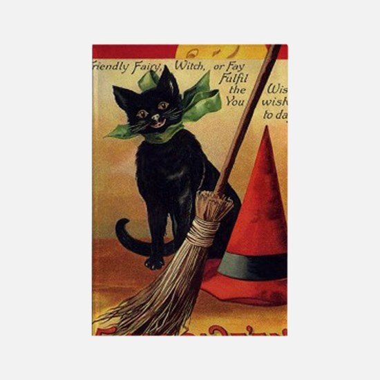 WitchsCatw/BroomHatGreetingCard-b Rectangle Magnet