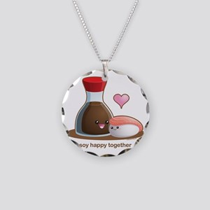 Soy Happy Necklace Circle Charm