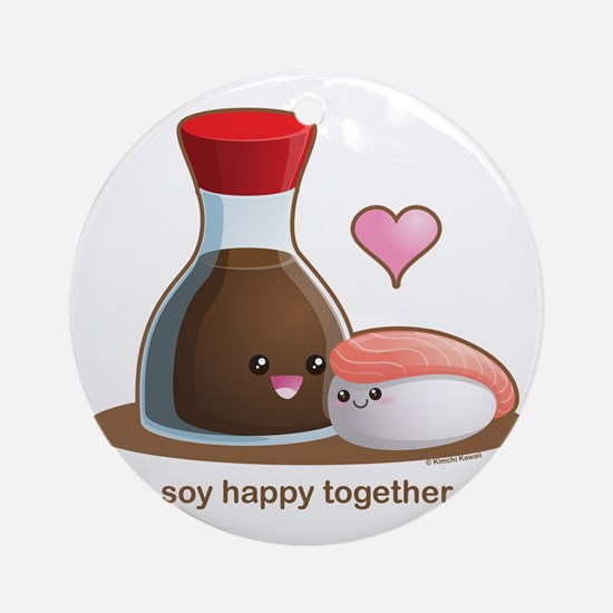 Soy Happy Round Ornament