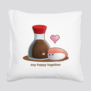 Soy Happy Square Canvas Pillow