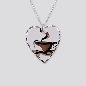 Coffee Time Necklace Heart Charm
