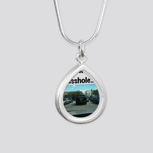 Parking asshole Silver Teardrop Necklace