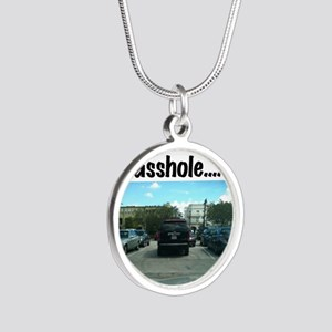 Parking asshole Silver Round Necklace