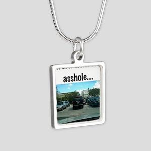 Parking asshole Silver Square Necklace
