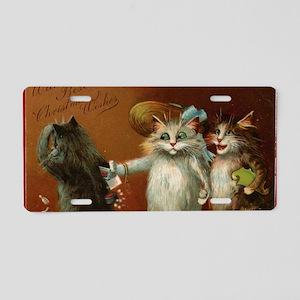 ThreeCatsGreetCard-a Aluminum License Plate