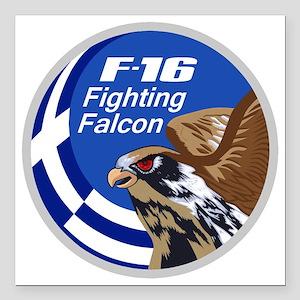 "F-16 Fighting Falcon – G Square Car Magnet 3"" x 3"""