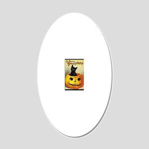 BlackKittenPumpkinGreetCardB 20x12 Oval Wall Decal