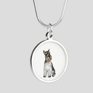 Schnauzer (11C) Silver Round Necklace