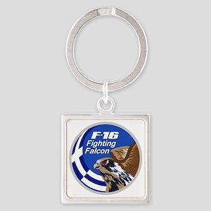 Greek F-16 Square Keychain