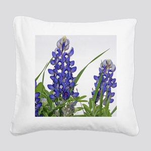 Texas bluebonnet circle charm Square Canvas Pillow