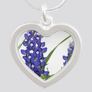 Texas bluebonnet circle char Silver Heart Necklace