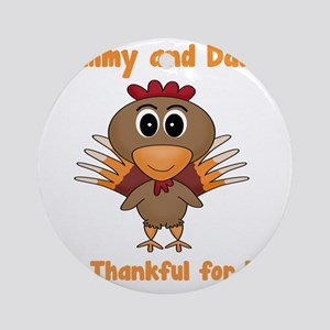 Thankful Turkey Round Ornament