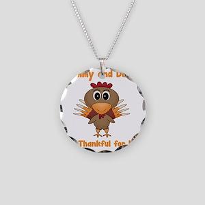 Thankful Turkey Necklace Circle Charm
