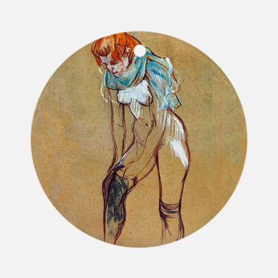 Toulouse-Lautrec Stockings Round Ornament