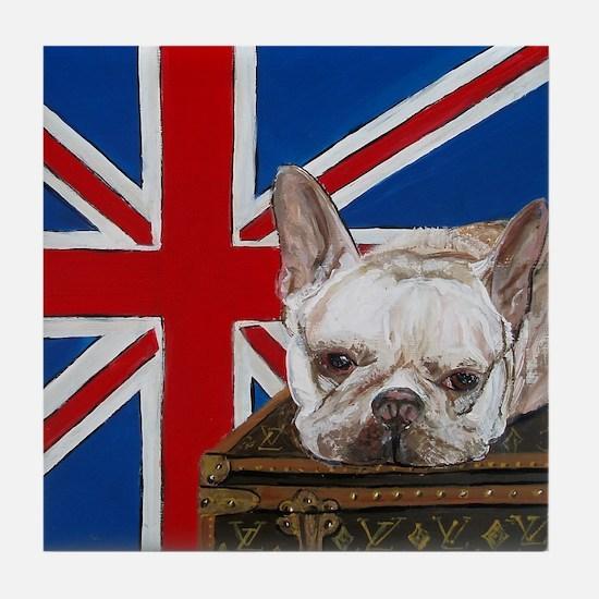 Mouse French Bulldog Tile Coaster